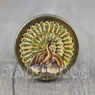 Peacock Glass Cabochon Bronze cabinet Dresser Knobs pull / Dresser Pull