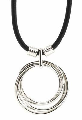 Sterling Silver Rings Black Leather Necklace