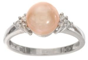10-kt. White Gold Pink Pearl and Diamond Ring