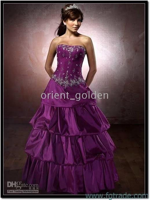 New Strapless Purple Quinceanera Embroidery Dress Prom Ball Evening Gowns Custom A-line All Size Hot