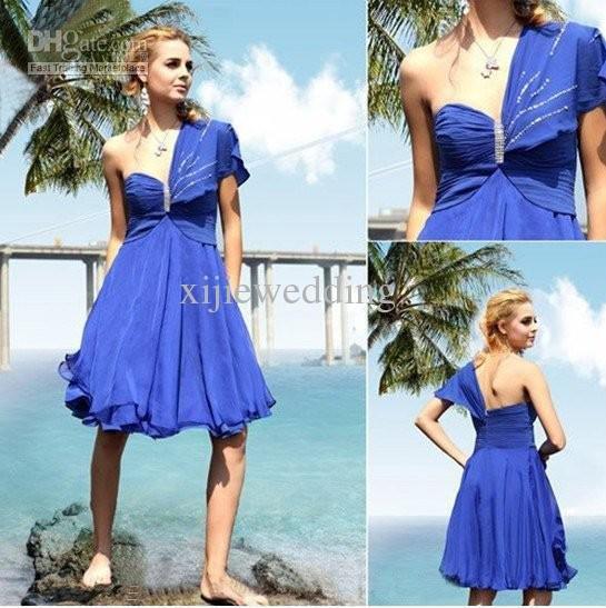 2011 Designer Unique Blue Chiffon One-Shoulder Evening Dresses/Fashion Prom Dress/Party Dress