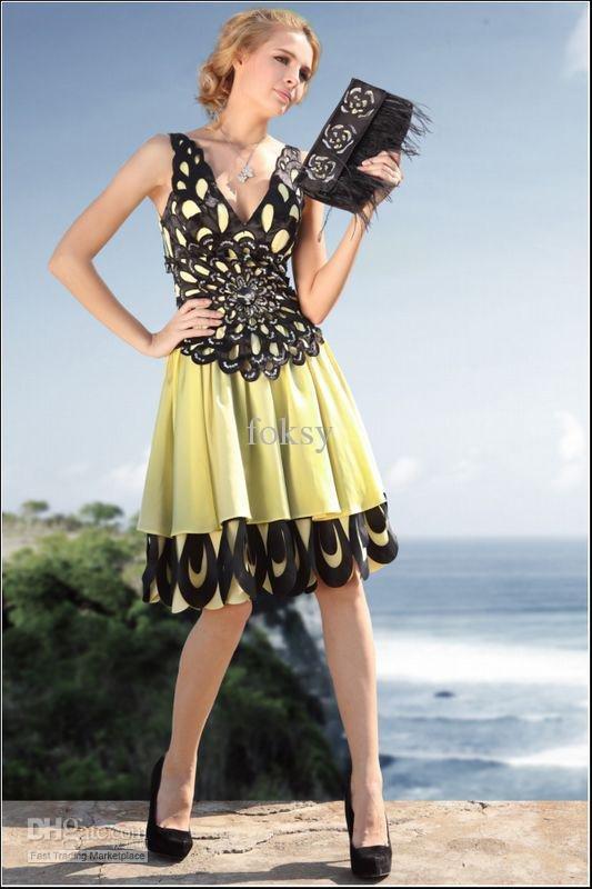 Amazing short Beach strapless Evening Dresses Women's Dress V-neck shoulder belt lime black