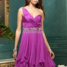 Basque WaistBeaded Ruffled One-shoulder Sweetheart Knee-length Pink Homecoming Party Gown Prom Dress
