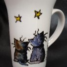 Hand painted porcelain mug with Stargazing cats