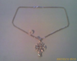 Sterling Silver Cross Pendant with Cubic Zirconia and Sterling Silver Necklace