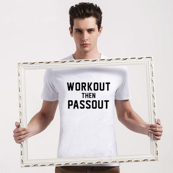 Buy Joking Workout Then Passout Lettering Printed T Shirt Men Clothing T shirt Man Tee Black Color