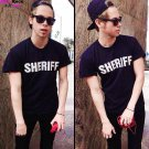 Buy Mens Black Funny Letter Sheriff Print T Shirt Fashion Cool Skateboard Personality Men T shirt N