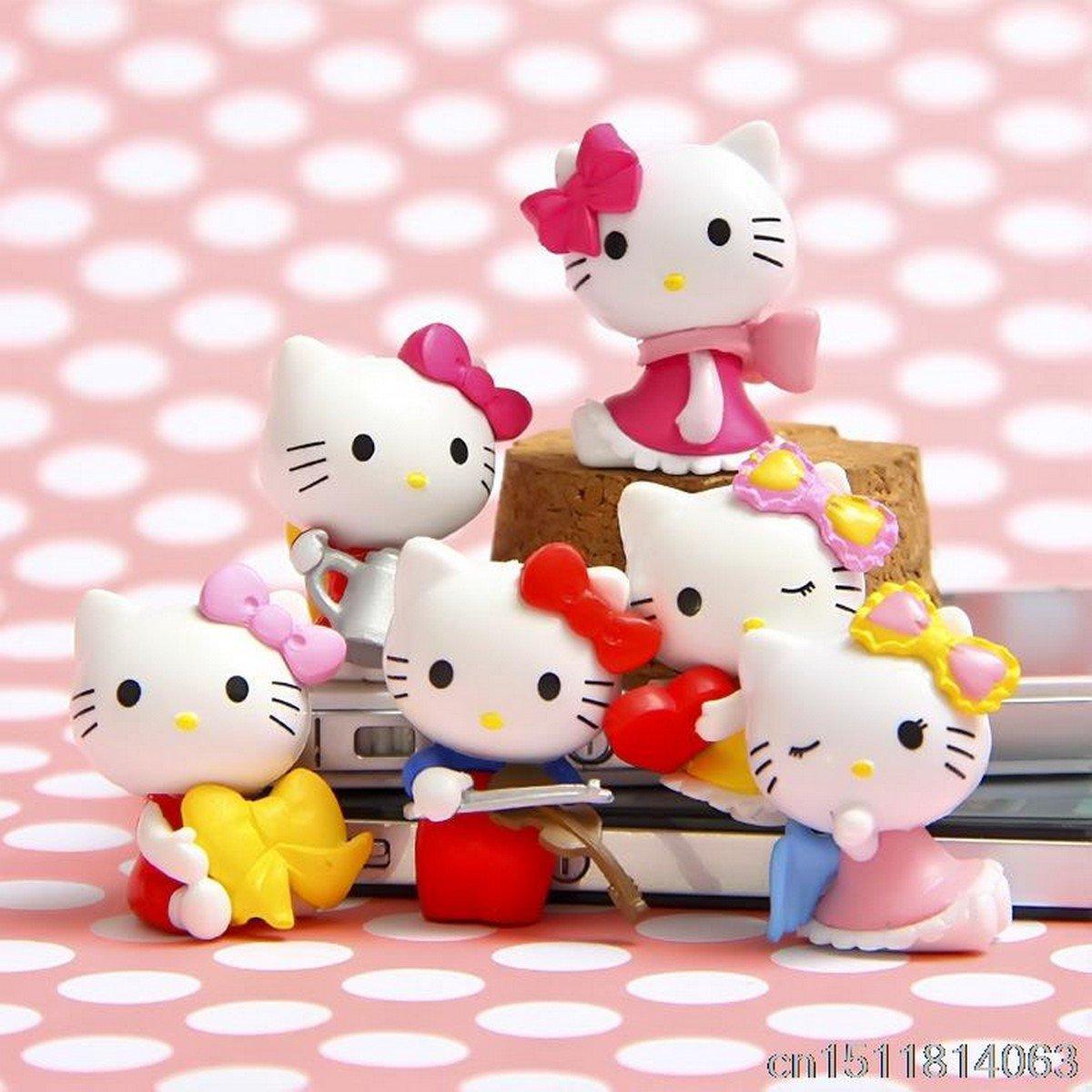 Buy 6Pcslot Anime Cartoon Blink HELLO KITTY Figures Kitty PVC Cut Action Figure Toys Model Dolls Gr