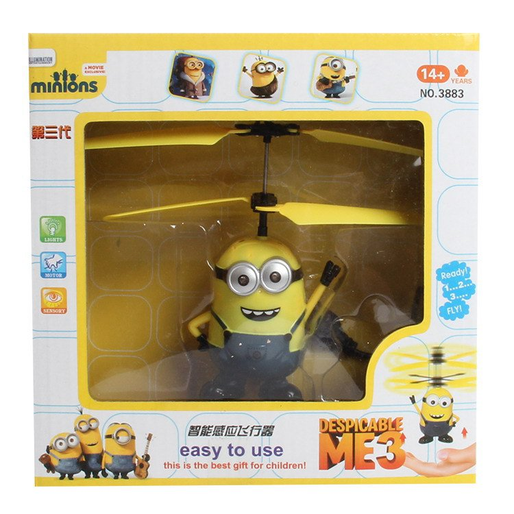 Buy Helicopter Induction Flying Helicopter Eyes Light Despicable Me Minion Quadcopter Drone Kids To