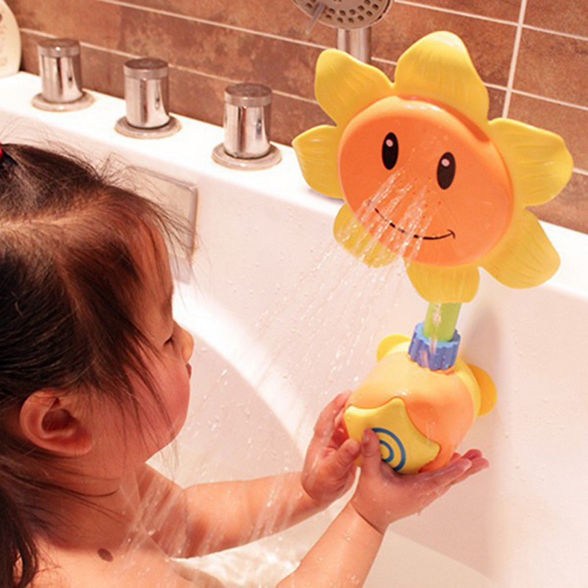 Buy Baby Bath Toys Dabbling Sunflower Shower Faucet  Children Bath Parent child Interaction Learnin