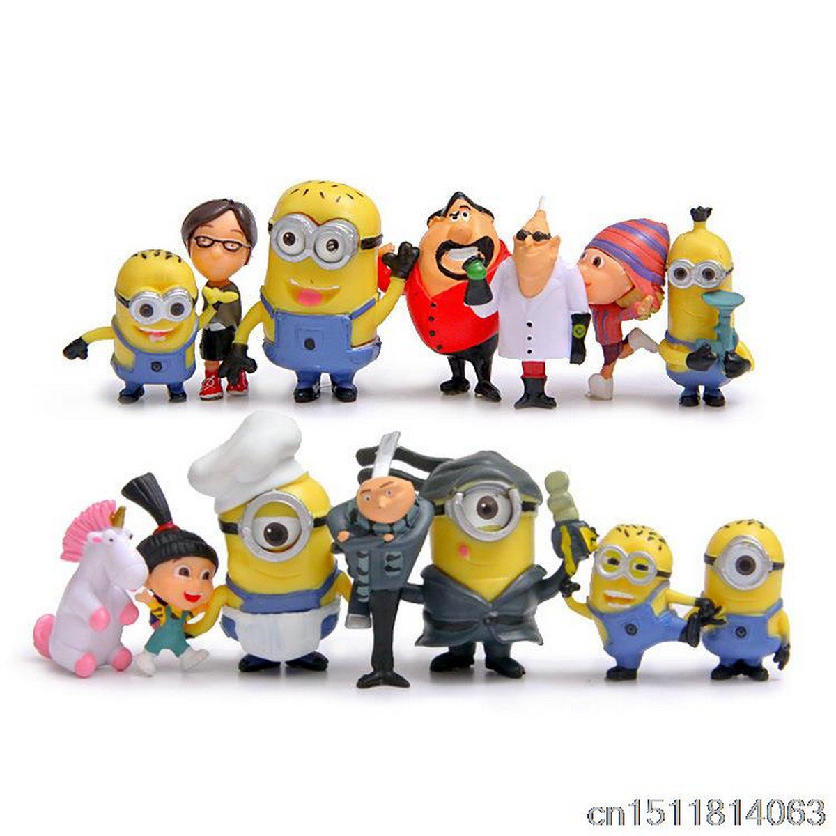 Buy Hot!14Pcs Fashion Cartoon Anime Despicable Me 2 Minions Decoration Toy 3D Eye Mini Moive Action
