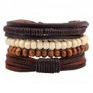 Buy 1 Set 4 pcs Bamboo Wood Beaded Wrap around Bracelet, Pull Closure Leather Bracelet Mens Fashion