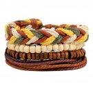 Buy 1 Set 4 pcs Black with Brown Wood, Weave Leather Bracelet Mens Bracelet Pack,Handmade Adjustabl