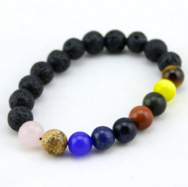 Buy  Original Custom Men Bracelet Beads 10mm Lava Stone Beads Bracelets for Women Unisex lovers Gif