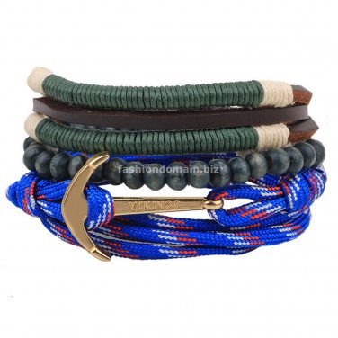 Buy 3 pcs set Design 3 pcs set Natural  Wooden Beads Leather Men Bracelet Anchors Blue Braided Char