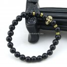Buy Choose Size Mens Beaded Golden Skull Head Bracelet ,Matte Agate Onyx Stone Charm Hand Women Bra