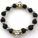 Buy Fashion Nature 10mm Black Lava Energy Stone Beads Men Bracelet GoldSilver Skull Charm Bracelet