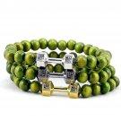 Buy Green Sandalwood Fitness Fashion Dumbbell Bracelets, Mens Powerful Gift GYM Barbell 8mm Beaded