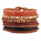 Buy Men Bracelet Casual Fashion Braided Leather Bracelet Multilayer Bracelet Bangle Wood Beaded Bra