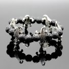 Buy Men Silver Crocodile Charm Bracelets 8 MM Elastic Adjusted Length Nature Stone Black Lava Brace