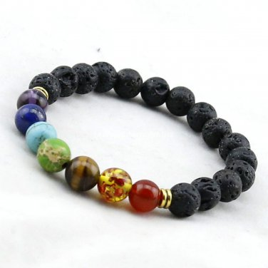 Buy Muti color Mens Bracelets Black Lava 7 Chakra Healing Balance Beads Bracelet For Women Reiki Pr