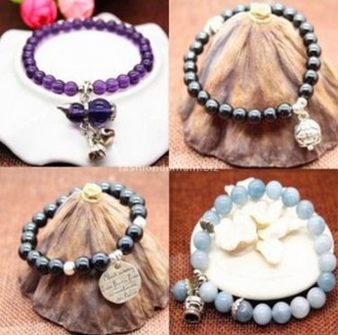 Buy Pick Style: Korean Fashion New Agate Beads Bracelet Bracelet PinkBlue Crystal Bracelet for Wome