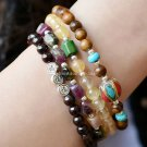 Buy 4 pscLot Fashion Bohemian style Bracelets for Women Garnet Natural topaz Tourmaline Beads Woman