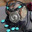 Buy Fashion Ethnic Coral Natural Turquoise Tibetan Silver Flower Tassel Long Pendant Necklaces for