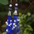 Buy Fashion High quality Vintage Ethnic Tibetan silver Ceramics Blue Tassel Long  Dangle Earrings F