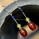 Buy Fashion National Vintage Jewelry lapis lazuli Women Earring Trend Plaid Night Market Agate Silv