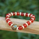 Buy Fashion Tibetan Jewelry Original Black Woman Bracelet Natural Red Agate 8mm Beads Bracelets for