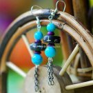Buy Fashion Vintage Ethnic Natural Turquoise Beads Tibetan Silver Hand made Tassel Bone Earring for