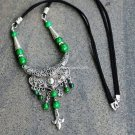 Buy Fashion Vintage Originality Green Coral beads Rhinestone Tibetan silver Necklace Women Ethnic J