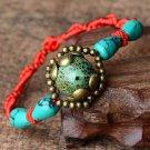 Buy  Handmade Woven Rope String Rainbow Silk Macrame Embroidery Cotton Turquoise Friendship Bracele