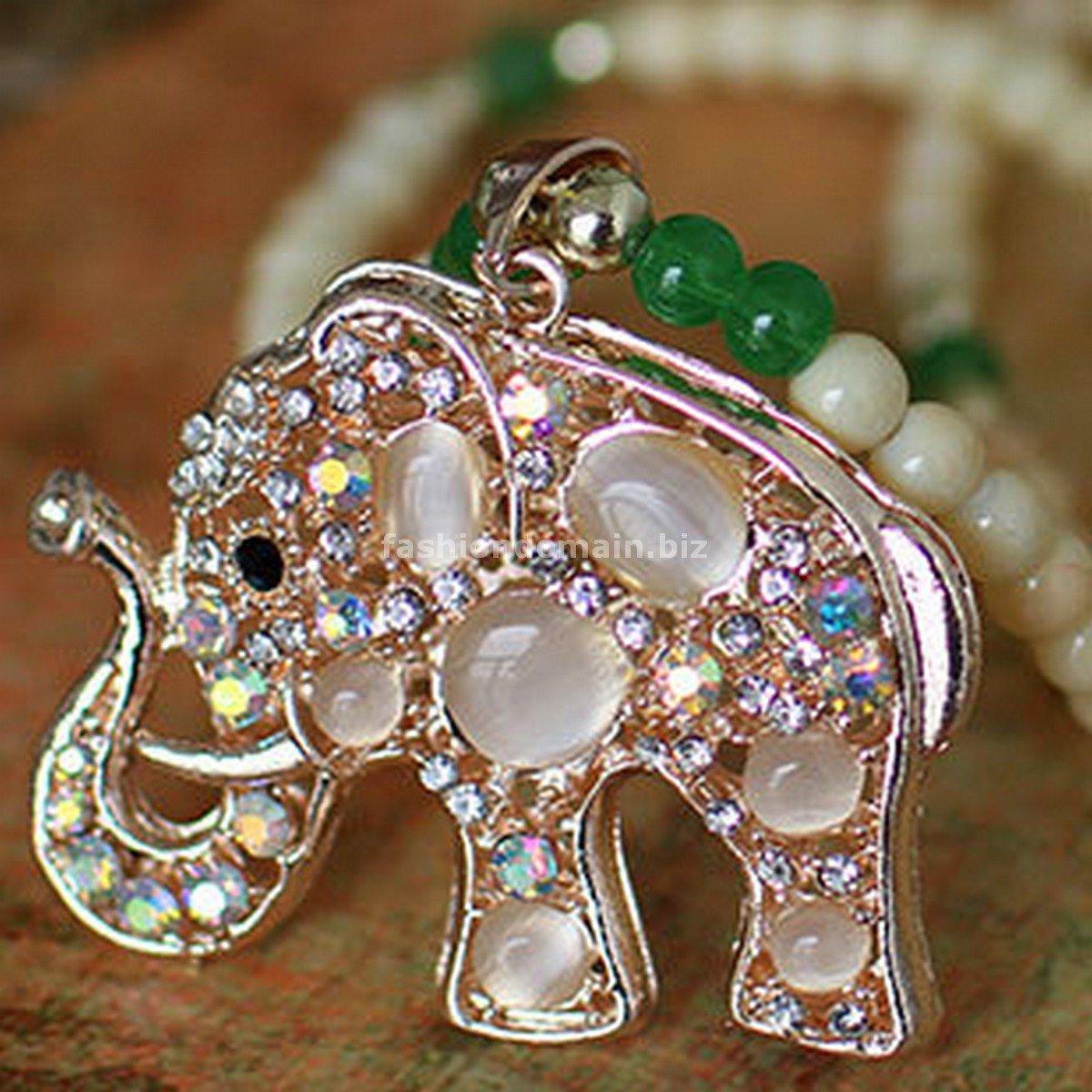 Buy High Quality Alloy plating Opal Green Agate Synthetic Tridacna Hollow Rhinestone Elephant Penda