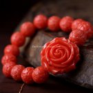 Buy National Red Giant Clam Rose bracelet for Women, Artificial Stones 10mm Buddha Bracelet Charm J