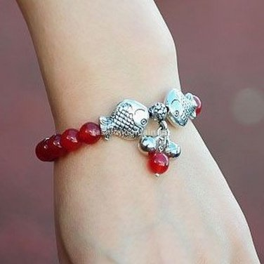 Buy new! ! Wholesale Tibetan Onyx Bead Tibetan silver Fish Bracelets Women Gift Handmade Fashion Ch