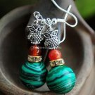 Buy shop Fashion Bohemian Vintage Ethnic Tibetan silver Owl Natural Malachite Beads Dangle Earrings
