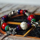 Buy Wholesale handmade Tibetan Red Coral Bead Fashion Shamballa Bracelet Tibetan silver color mix a