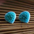 Buy Wholesale Refinement Ice Blue Crack Ceramics Heart Alloy Earring Women Handmade Gift Creative C