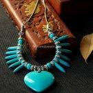 Buy Wholesale Tibetan Jewelery Handmade Refinement Alloy Heart Turquoise Pendant Necklace Women Blu