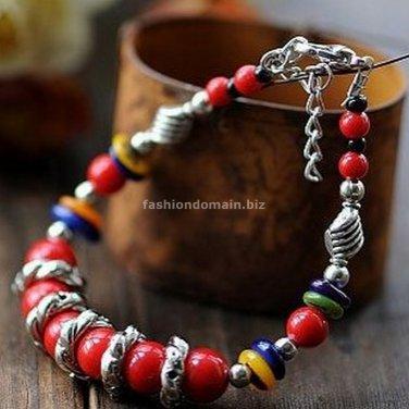Buy Wholesale Tibetan Jewelery Natural Red Coral Beads Tibetan silver Shell Shambhala Bracelets Wom
