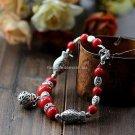Buy Wholesale Tibetan Jewelery Natural Red Coral Tibetan silver Hollow ball Fish Shambhala Bracelet