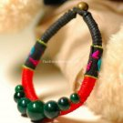 Buy Wholesale Tibetan Jewelery Refinement Handmade Weave Color line Green Coral beads Bracelets Wom