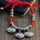 Buy Wholesale Trendy Jewelery Fashion Tibetan silver Red Silk Handmade Weave Bracelets Bead Women L