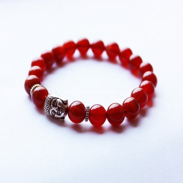 Buy  Best Selling Beaded Buddha Jewelry Women Bracelets Exquisite Natural Red Agate Gold Buddha Bra
