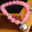 Buy Fashion lovely pink beads 8mm sterling silver pendant bracelet hello Kittty Women High quality