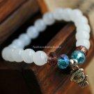 Buy Hot Fashion White Chalcedony Hello Kitty Bracelets  bangle 8mm Beads Charm Bracelet Elastic for
