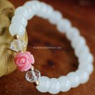 Buy Hot Sale Brand Rose White Crystal Bracelets  bangle Originality 8mm Beads Charm Bracelet for Wo