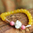 Buy Hot Yellow Crystal Bohemian Bracelets  bangle Originality 8mm Beads Charm Bracelet Elastic for